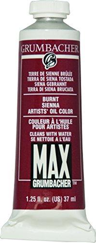 (Grumbacher Max Water Miscible Oil Paint, 37ml/1.25 oz, Burnt Sienna)