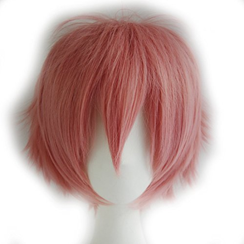 Probeauty Unisex Basic Short Hair Wig/Wigs Cosplay Party+Wig Cap (Shake Pink) (Unisex Adult Short)