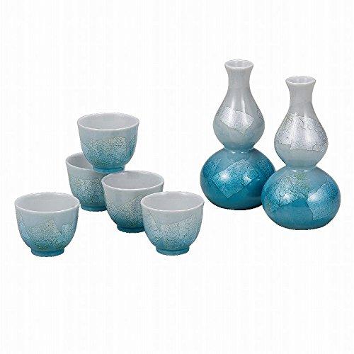 Japanese Traditionalセラミック九谷焼。Sake TOKKURIボトルとSakeカップ。Sake Set。シルバーリーフ。ライトブルー。With Wooden Box。ktn-k5 – 1192   B0742J44T7