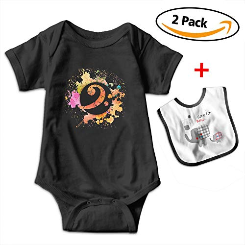 Leopoldson Colorful Bass Clef Musical Symbol Gifts Baby Boys' Short Sleeve Bodysuits Jumpsuit Baby Bib