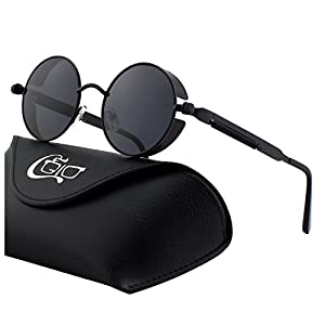 CGID E72 Retro Steampunk Style Inspired Round Metal Circle Polarized Sunglasses for Women Men