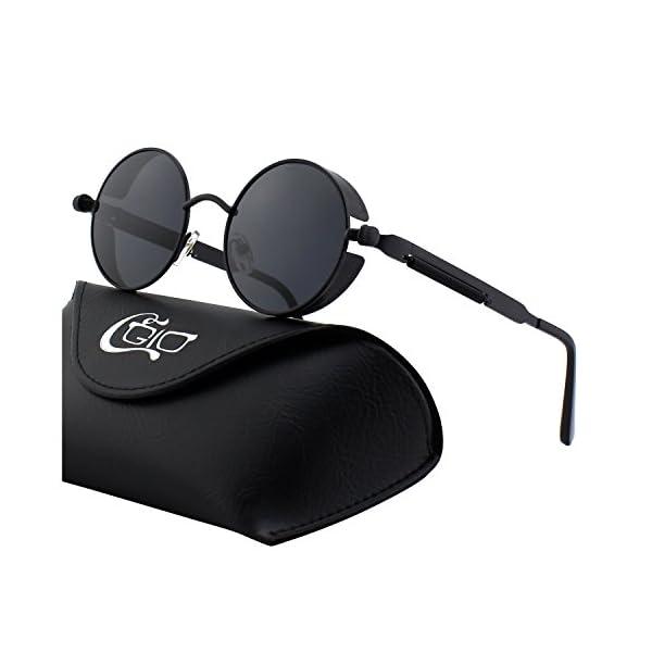 CGID E72 Retro Steampunk Style Inspired Round Metal Circle Polarized Sunglasses for Women Men 3