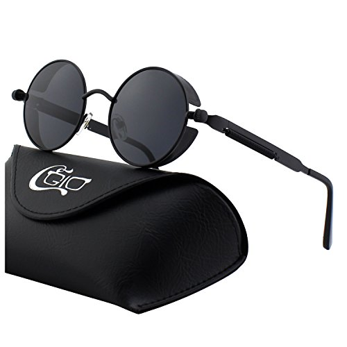 CGID E72 Retro Steampunk Style Inspired Round Metal Circle Polarized Sunglasses for - Steampunk Glasses