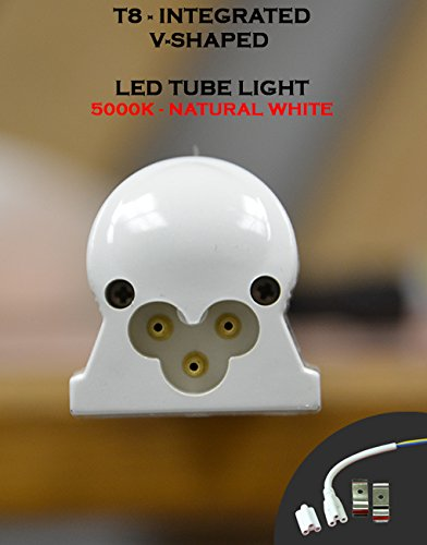 (Pack of 10 Lights) T8 Integrated 8 Feet 65 Watt V Shaped (270 Degrees Viewing Angle) 5000K Clear Lens Plug and Play Tube Light for Cooler Freezer by Plan Hoot (Image #3)