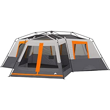 Ozark Trail 12-Person 3-Room Instant Cabin Tent with Screen Room Orange