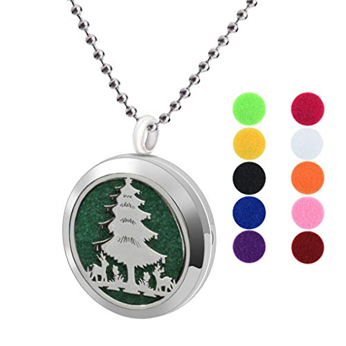 Womens Aromatherapy Essential Oil Diffuser Christmas Necklace Deer Party Tree Locket Pendant
