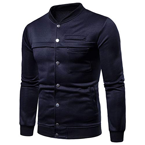 Trench Solid Jacket Men's Comfort XINHEO Front Casual blue Coat Collar Stand Navy Pocket A4x6qf