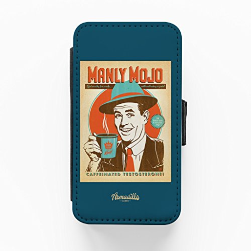Manly Majo Hochwertige PU-Lederimitat Hülle, Schutzhülle Hardcover Flip Case für iPhone 4 / 4s vom Anderson Design Group + wird mit KOSTENLOSER klarer Displayschutzfolie geliefert