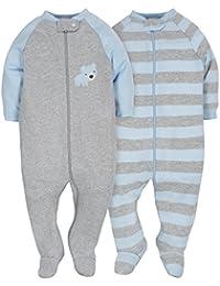 Baby Boys 2 Pack Organic Zip Front Sleep 'N Play