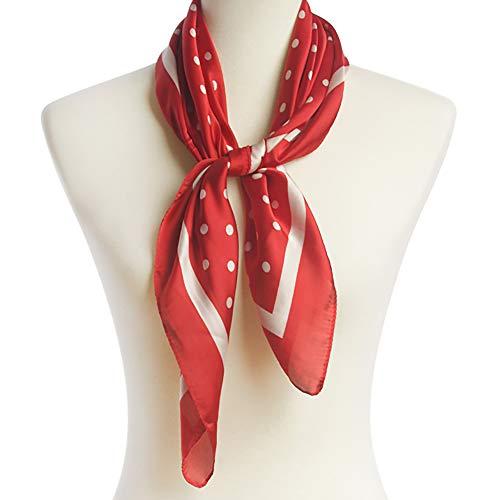 CCFW Womens Silk Feeling Square Neck Scarf Hair Wraps Neckerchief Handbag Scarf Gift (Polka Dot - Dot Polka Multi Scarf Colored