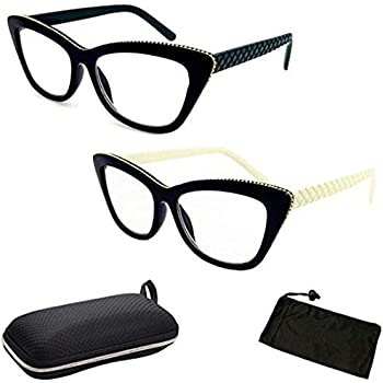 85fec45e08 2 Pairs Cat Eyes Cateyes Rhinestone Retro Classic Reading Glasses For Women  … (2Pk White Green