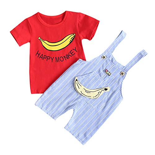 2PCS Bodysuit Set for Baby Boy Girl Cartoon Print Tops T-Shirt + Overall Striped Pants Outfits Set Blue -
