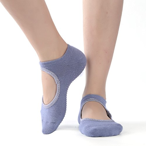 Non Slip Skid Women Pilates Yoga Socks Dance Mat Massage Socks With Grips Best Fitness Dance, Pilates, Ballet Barre ,Sports For Woman Size Shoe Size UK 2.5-7 /EU 35-40 (HCT02 Grey)