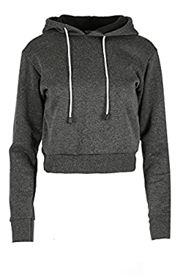 Be Jealous Women's Plain Fleece Hooded Top Sweatshirt Cropped Pullover Hoodies