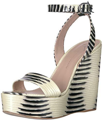 - GIUSEPPE ZANOTTI Women's E900036 Wedge Sandal Bianco 9.5 B US
