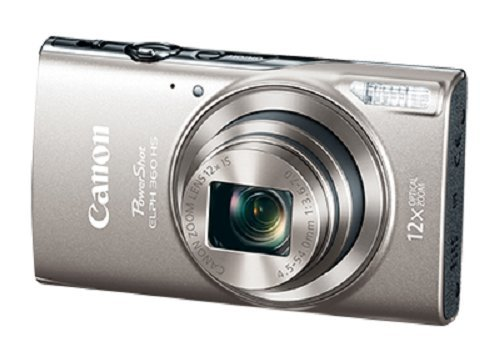 Digital Point And Shoot Film Camera - Canon PowerShot ELPH 360 Digital Camera w/ 12x Optical Zoom and Image Stabilization - Wi-Fi & NFC Enabled (Silver)