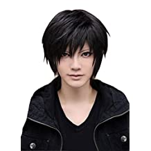 Men's Beautiful Male Black Short Straight Hair Wig Cosplay Party + Wig Cap