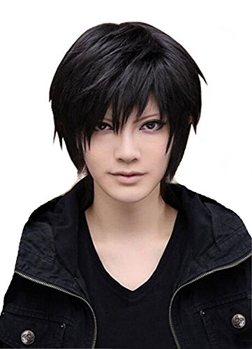[Men's Beautiful Male Black Short Straight Hair Wig Cosplay Party + Wig Cap] (Rikku Cosplay Costume For Sale)