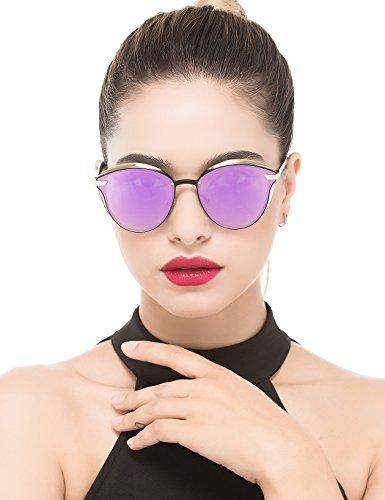 BAVIRON Womens Cat Eye Sunglasses Polarized Luxury Fashion Eyewear(Gold/Purple)