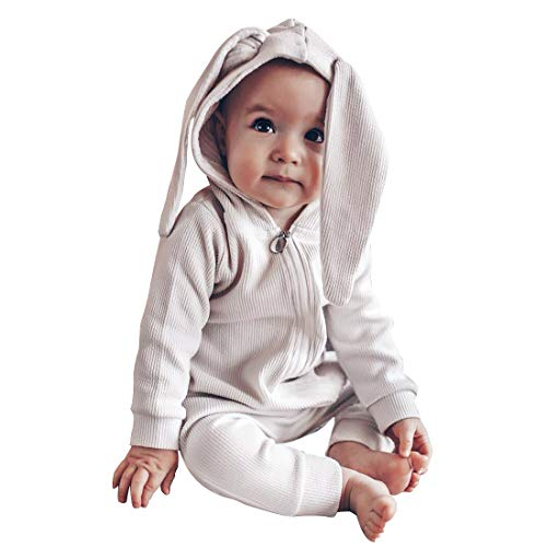 Simplee kids Animal Bunny Baby Easter Pajamas Long Ear Rabbit Hoodie Infant Romper (White)