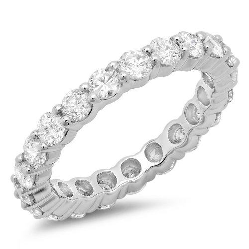 Dazzlingrock Collection 2.50 Carat (ctw) 14k Round Diamond Ladies Eternity Anniversary Stackable Ring Wedding Band, White Gold, Size 7.5