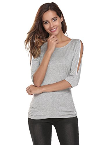 (Zeagoo Womens Plus Size Scoop Neck 3/4 Sleeve Off Shoulder Top with Side Shirring Grey/XL)