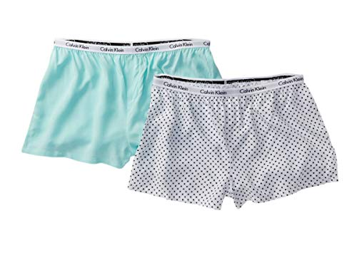 (Calvin Klein Women`s 2 Pack Woven PJ Shorts (Polka Dot(QP1187-956)/Light Green, Medium) )