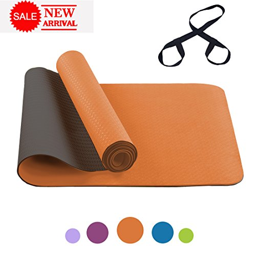 FARLAND Non Slip Yoga Mat with Carrying Strap – Eco Friendly TPE Workout Mat Exercise Mat,Anti-tear Hot Pilates Fitness Yoga Mat in Home & Gym (Orange Black)