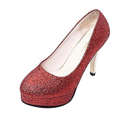 LvYuan-GGX High Damen High LvYuan-GGX Heels Kunstleder Sommer Herbst Glitter Stöckelabsatz Schwarz Silber Rot Rosa 2,5-4,5 cm, schwarz, us6 / eu36 / uk4 / cn36 - b2666b