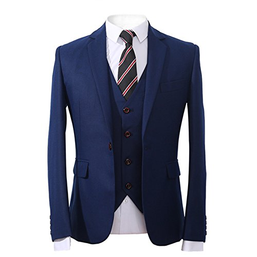 YFFUSHI Mens Classic 3-Piece Navy Suit Slim Fit One Button Solid Color Tuxedo Suit,Blue,X-Large