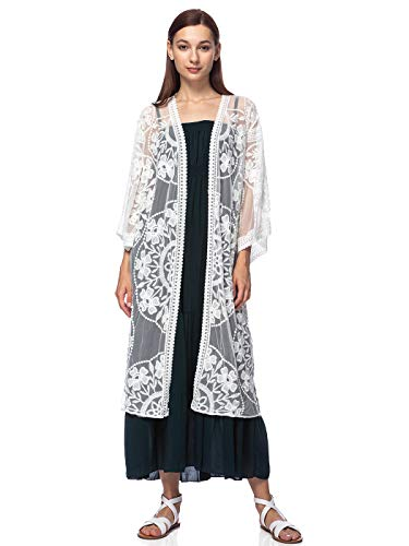 Anna-Kaci Women's Long Embroidered Lace Kimono Half Sleeve Cover Up Cardigan, White, OneSize
