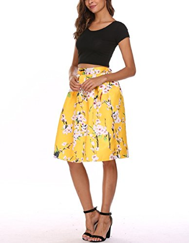 Chigant Women's Floral Plain Vintage High Elastic Waist A Line Pleated Skirts Knee Length