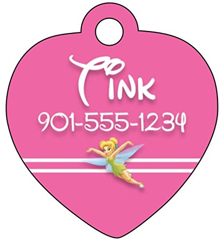 Princess Pet Tag (Disney Princess Tinkerbell Pink Pet Id Tag for Dogs & Cats Personalized w/ Name and Number)