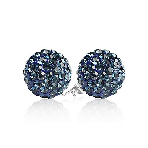 BAYUEBA 925 Sterling Silver Sparkle Crystal Ball Stud Earrings 10mm Midnight Blue ()