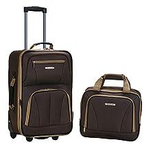 Rockland Fashion Softside Upright Luggage Set, Brown