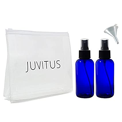 Cobalt Blue 4 Oz Glass Fine Mist Spray Bottle (2 Pack) + Clear Travel Bag And A Funnel by Juvitus