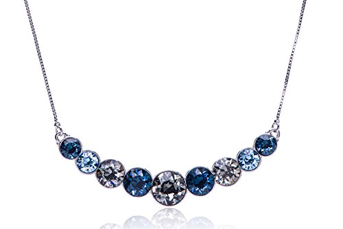 "Swarovski Beaded Necklace - UPSERA Multi-color Blue Collar Fashion Statement Bib Necklace for Women Made with Swarovski Crystals Graduated Curved Pendant Silver-Tone Chain 16"" Plus 2"" Extender Perfect for Mothers Day Gift"