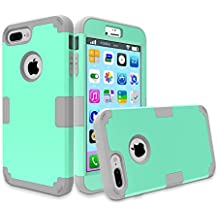 iPhone 7 Plus Case, MCUK 3 In 1 Hybrid Best Impact Defender Cover Silicone Rubber Skin Hard Combo Bumper with Scratch-Resistant Case For Apple iPhone 7 Plus (2016) (Mint+Grey)