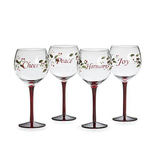 Pfaltzgraff Winterberry Harmony/Peace/Cheer/Joy Wine Glasses (Set of 4) (Winterberry Collection Tableware)