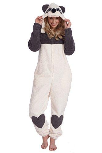 Body Candy Women's Plush Adult Animal Hood Onesie Pajama (Panda Sue Sherpa, Large)
