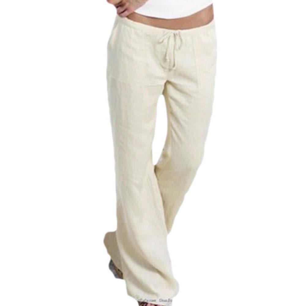 UONQD Womens Pants Pocket Elastic Band Trousers Long Baggy Wide Leg Pants (XXXX-Large,White)
