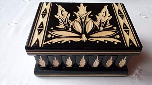AZI New Beautiful Puzzle Box Magic Jewelry Box Secret Tricky Carved Wooden Box Gift Wooden Toy Brain Teaser (Black)