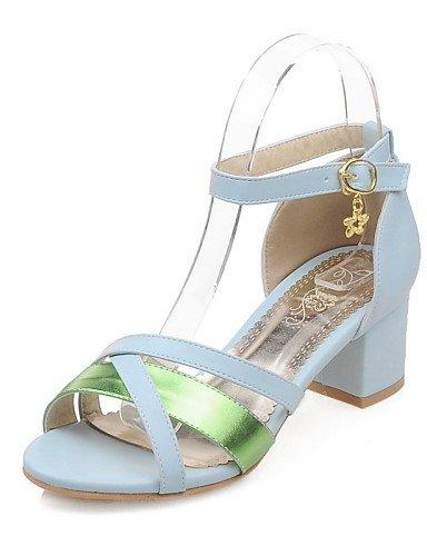 LFNLYX Zapatos de mujer-Tacón Robusto-Tacones / Punta Abierta-Sandalias-Vestido / Casual / Fiesta y Noche-Purpurina / Semicuero-Azul / Negro / White