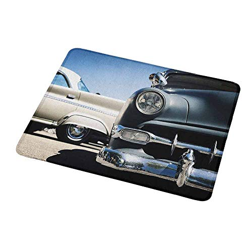 Gaming Mouse Pad Custom Design Mat Vintage Car American Classic Old Style Fifties Auto Wheels Transportation History Art Print Non-Slip Rubber Base Ideal for Keyboard PC and Laptop -