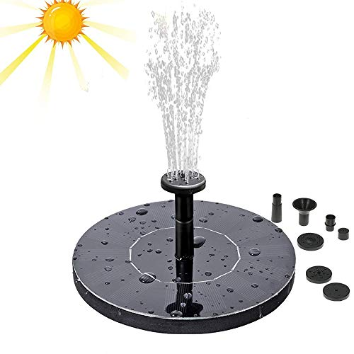 iPstyle Solar Water Pump Outdoor Solar Powered Bird Bath Fountain Pump Solar Submersible Floating Water Pump 1.4W Solar Panel with Different Spay Heads for Pond, Pool and Garden Decoration by iPstyle