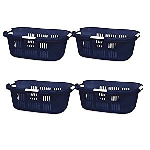Hip Hugger Laundry Basket Royal Blue 1.5 Rubbermaid Pack of 4
