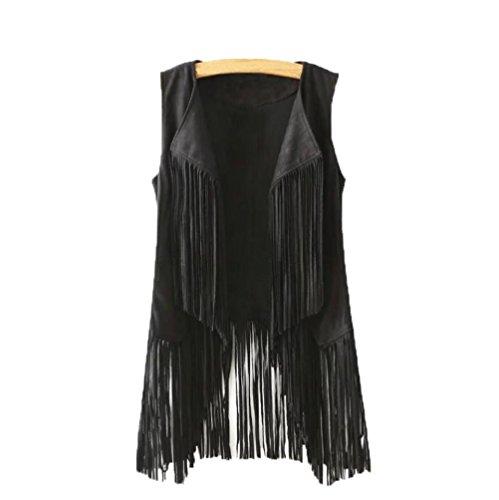 - Besde Clearance Women Suede Ethnic Sleeveless Tassels Fringed Vest Sleeveless Jacket Waistcoat (L, Black)