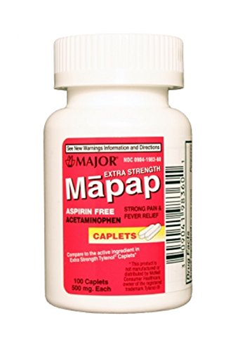 MAPAP 500MG CPLTS UNBOXED ACETAMINOPHEN-500 MG White 100 CAPLETS UPC 309041983601 -  Major Pharmaceuticals, 00904-1983-60