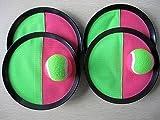 Klettball (Catchball)-Spiel mit 4 Fangscheiben und 2 Klettbällen (ca. 63 mm Durchm.) Ein toller Spielspaß für die ganze Familie