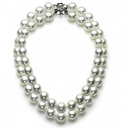 White Simulated Pearl Double Strand Sterling Silver Bridal Necklace 16 (Double Graduated Strand)